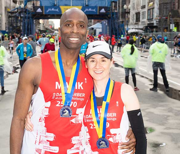 A Dana-Farber Marathon Challenge participant helps raise money to cure cancer