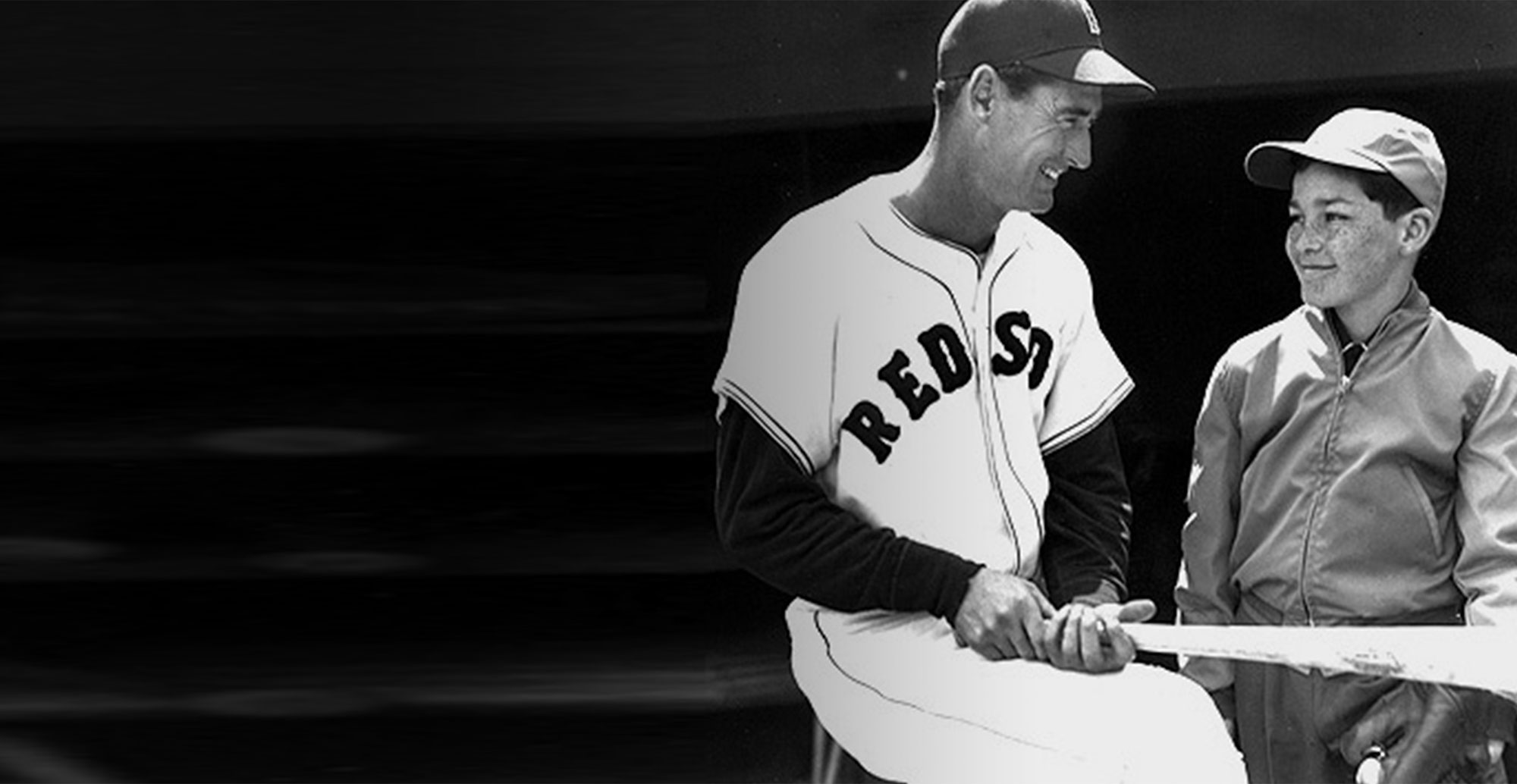 Former Red Sox player Ted Williams with the original 'Jimmy'