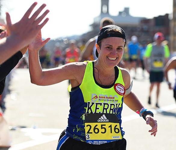 A Dana-Farber Marathon Challenge participant helps raise money to cure cancer