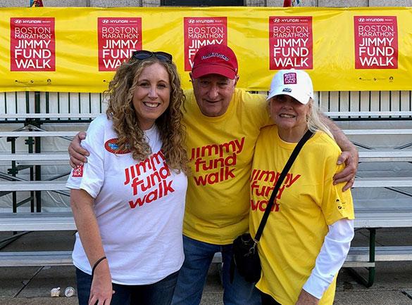 The featured volunteer at a past Boston Marathon Jimmy Fund Walk