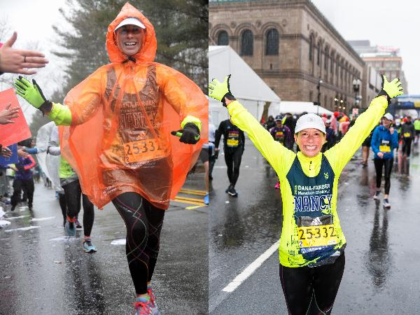 Soaking wet and elated at the finish line in 2018!